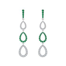Sterling Silver Earring with Emerald and Diamond