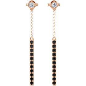 14K Rose Gold Earrings with Diamond & Black Diamond