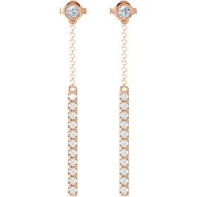 14K Rose Gold Earrings with Diamond & Rock Crystal