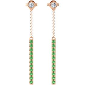 14K Rose Gold Earrings with Diamond & Emerald