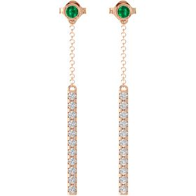 14K Rose Gold Earring with Emerald and White Sapphire