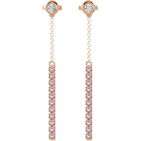14K Rose Gold Earring with White Sapphire and Rhodolite Garnet