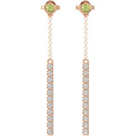 14K Rose Gold Earring with Peridot and White Sapphire