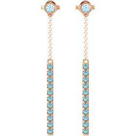 14K Rose Gold Earring with Blue Topaz and London Blue Topaz