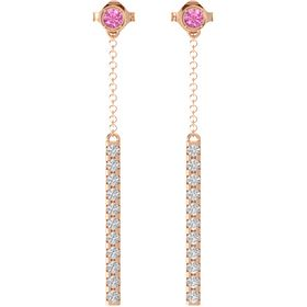 14K Rose Gold Earring with Pink Tourmaline and White Sapphire