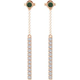 14K Rose Gold Earrings with Alexandrite & Diamond