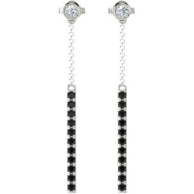 14K White Gold Earrings with Diamond & Black Diamond