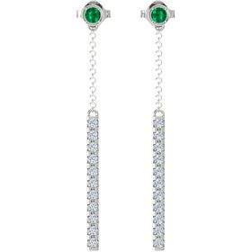 14K White Gold Earrings with Emerald & Diamond