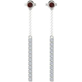 14K White Gold Earrings with Red Garnet & Diamond
