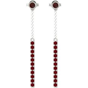 14K White Gold Earrings with Red Garnet & Ruby