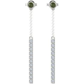 14K White Gold Earrings with Green Tourmaline & Diamond