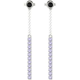 14K White Gold Earring with Black Onyx and Tanzanite