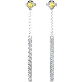 14K White Gold Earrings with Yellow Sapphire & Diamond