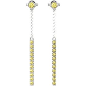 14K White Gold Earrings with Yellow Sapphire