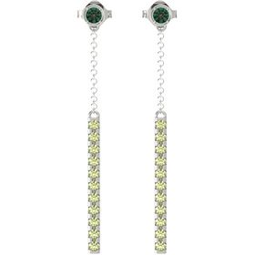14K White Gold Earrings with Alexandrite & Peridot