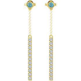 14K Yellow Gold Earrings with London Blue Topaz & Diamond