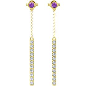 14K Yellow Gold Earrings with Amethyst & Diamond