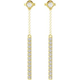 14K Yellow Gold Earring with Rock Crystal and White Sapphire