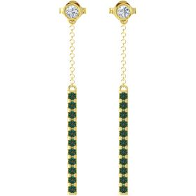 14K Yellow Gold Earrings with Diamond & Alexandrite