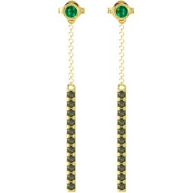 14K Yellow Gold Earring with Emerald and Green Tourmaline