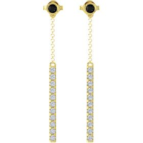 14K Yellow Gold Earrings with Black Onyx & Diamond