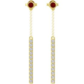 14K Yellow Gold Earrings with Ruby & White Sapphire