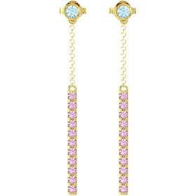 14K Yellow Gold Earring with Blue Topaz and Pink Tourmaline