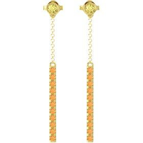 14K Yellow Gold Earrings with Yellow Sapphire & Citrine