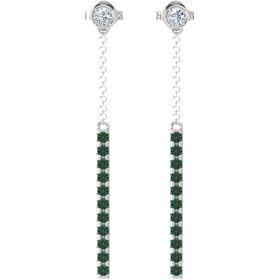 Sterling Silver Earrings with Diamond & Alexandrite