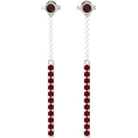 Sterling Silver Earring with Red Garnet and Ruby