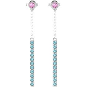 Sterling Silver Earring with Pink Sapphire and London Blue Topaz