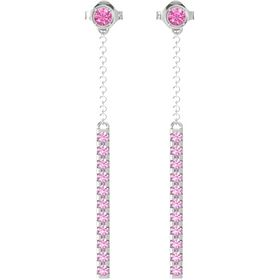 Sterling Silver Earrings with Pink Tourmaline