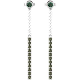 Sterling Silver Earring with Alexandrite and Green Tourmaline