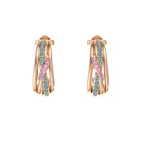 14K Rose Gold Earring with London Blue Topaz and Pink Tourmaline