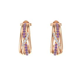 14K Rose Gold Earrings with Amethyst & Diamond