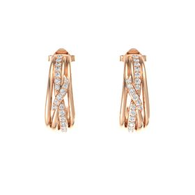 14K Rose Gold Earrings with White Sapphire