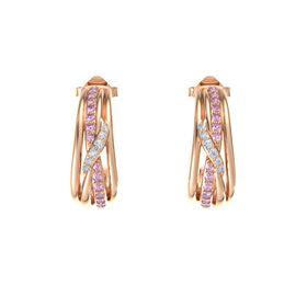 14K Rose Gold Earrings with Pink Sapphire & Diamond