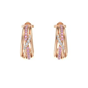 14K Rose Gold Earrings with Pink Tourmaline & Diamond