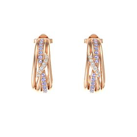 14K Rose Gold Earring with Tanzanite and White Sapphire