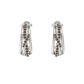 14K White Gold Earrings with Smoky Quartz