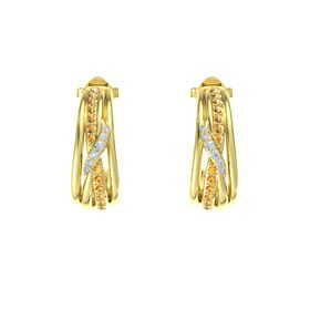 14K Yellow Gold Earrings with Citrine & Diamond