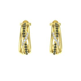 14K Yellow Gold Earrings with Green Tourmaline & Diamond