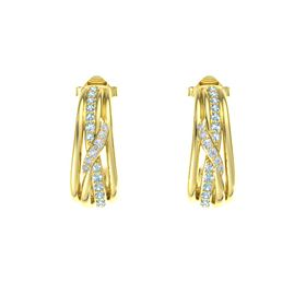 14K Yellow Gold Earrings with Aquamarine & Diamond
