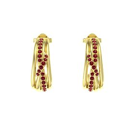 14K Yellow Gold Earrings with Ruby