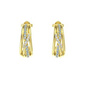 14K Yellow Gold Earrings with Blue Topaz & Diamond
