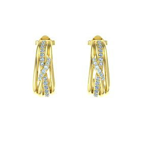 14K Yellow Gold Earring with Blue Topaz and Aquamarine