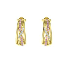 14K Yellow Gold Earrings with Pink Tourmaline & Diamond
