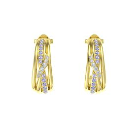 14K Yellow Gold Earring with Tanzanite and Diamond