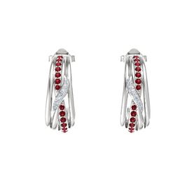 Sterling Silver Earrings with Ruby & Diamond