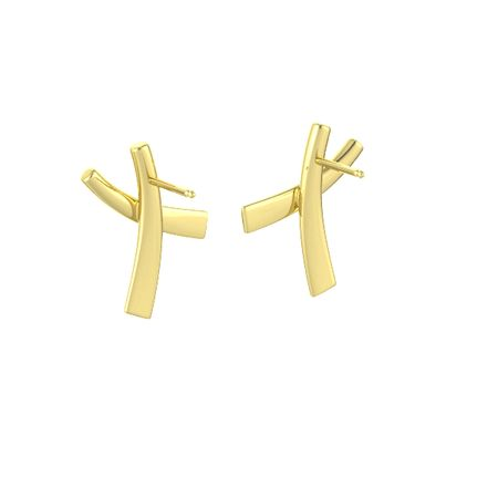 14K Yellow Gold X Earrings